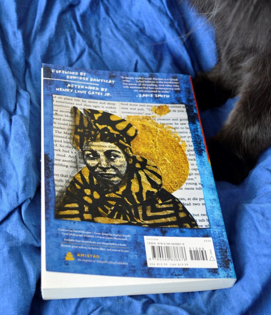 Black paws beside the back cover of Their Eyes Were Watching God.