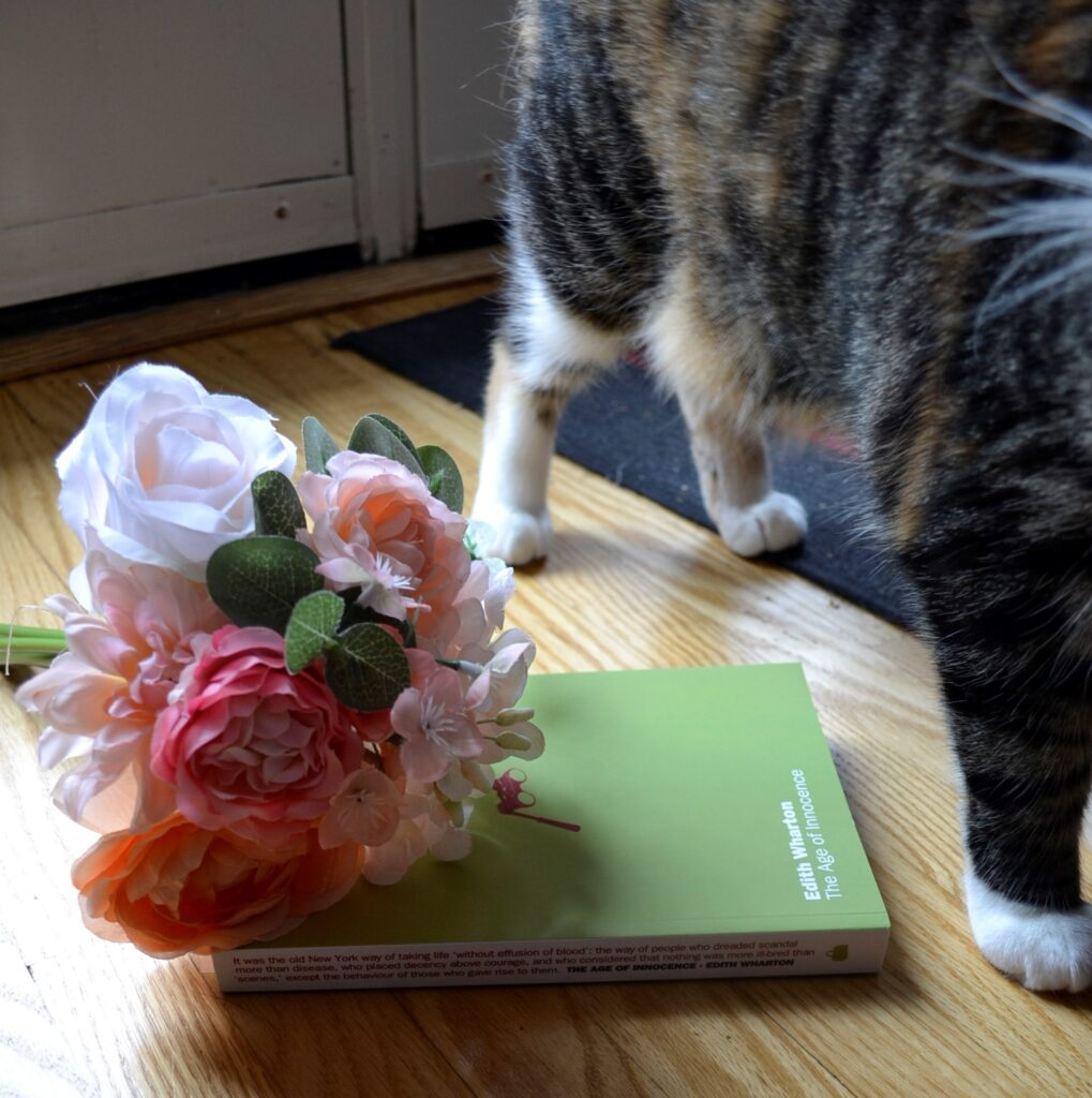 A calico tabby stands beside pink flowers and The Age of Innocence.