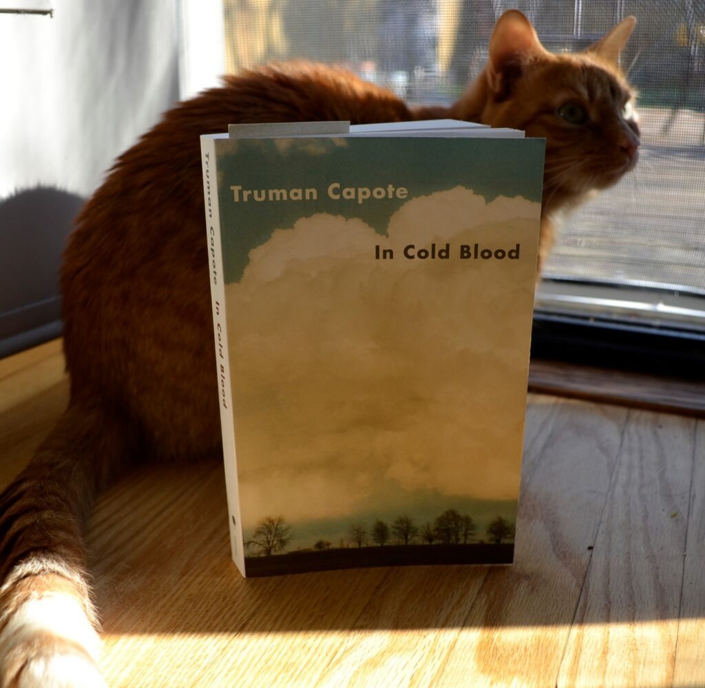 An orange tabby crouches beside In Cold Blood.