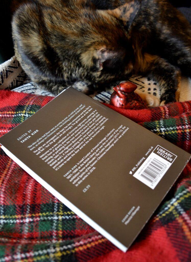 A tortoiseshell cat sleeps beside the back cover of Chill Tidings.