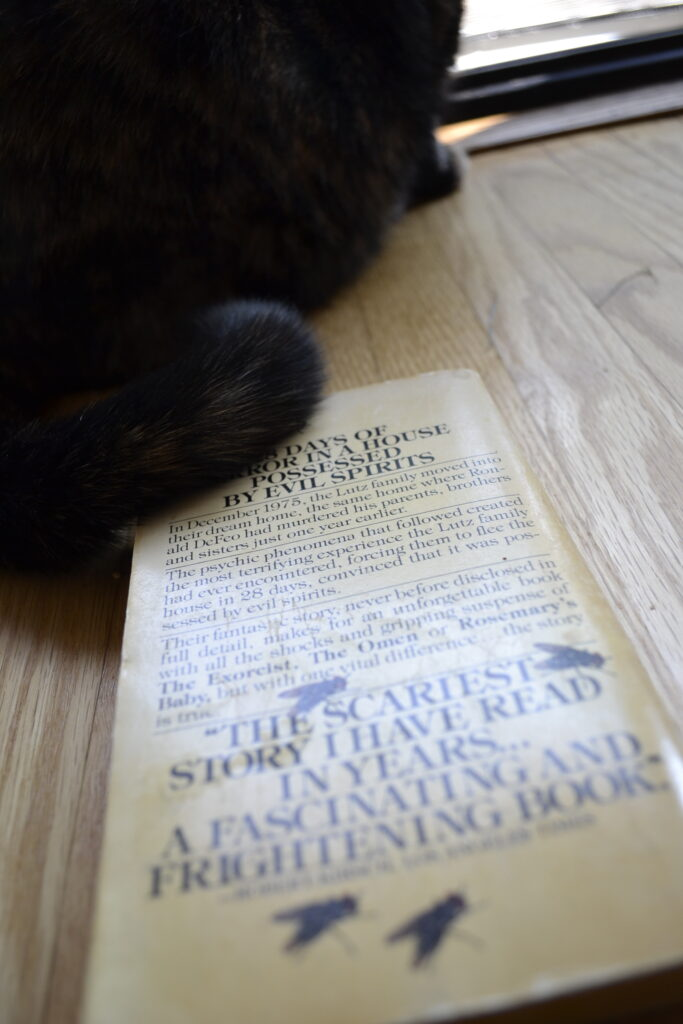 A tortoiseshell cat sits on the back cover of The Amityville Horror.